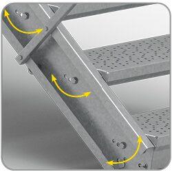 Adjustable step angle 33°, 37° or 40°