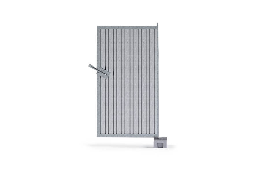 Dedicated to hoarding fences, ale mounted on concrete or PVC feet, and attached to a panel with a hinge. It is made of trapezoidal sheets, tubes and steel profiles.